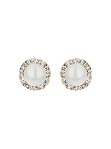 Mikey Twisted crystal circle pearl stud earrin
