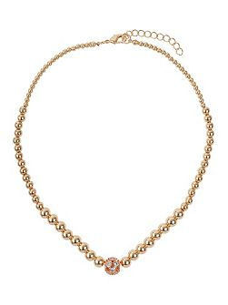 Large crystals ball metal chain necklace
