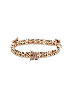 Triple butterfly twin line bracelet