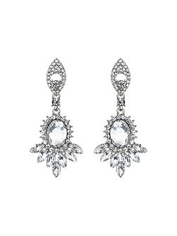 Twin drop oval spike crystal earring