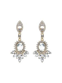 Mikey Twin drop oval spike crystal earring