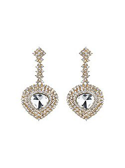 Oval crystal long drop surround earring