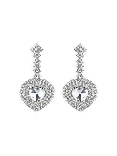 Mikey Oval crystal long drop surround earring