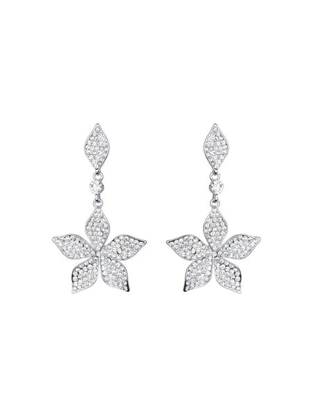 Mikey Leaf design crystal drop earring