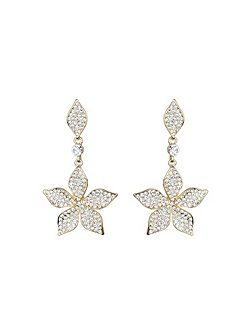 Leaf design crystal drop earring