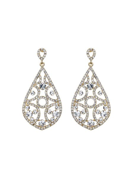 Mikey Filigree crystals oval design earring
