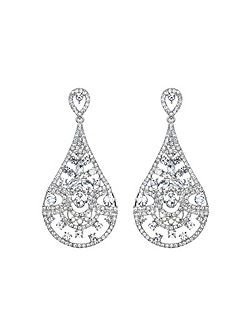 Filgree spread crystal oval drop earring