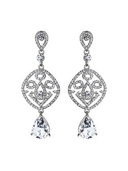Filgree crystal diamond drop earring