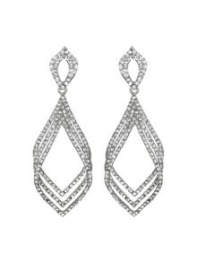 Mikey Triple eclipse crystal long drop earring