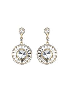Mikey Baugette circle centre crystal earring