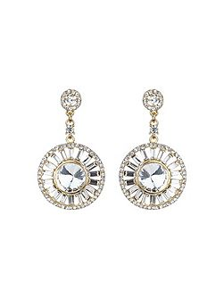 Baugette circle centre crystal earring
