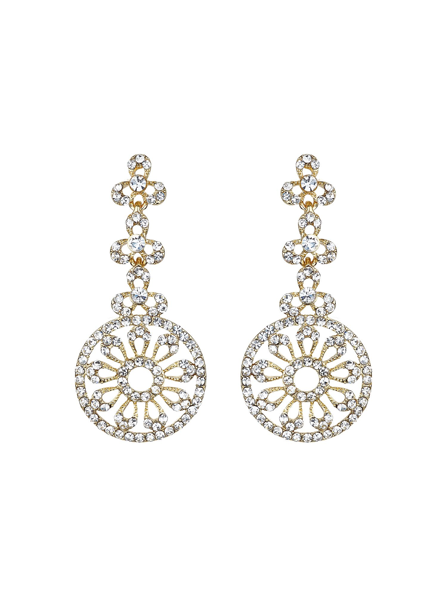mikey filigree circle crystal drop earring