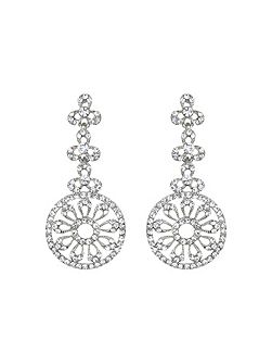 Filigree circle crystal drop earring