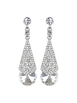Embedded crystal long drop earring