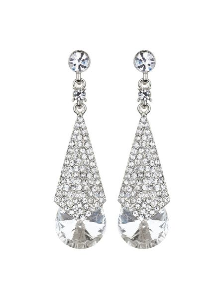 Mikey Embedded crystal long drop earring