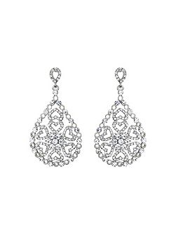 Oval design filigree spread drop earring