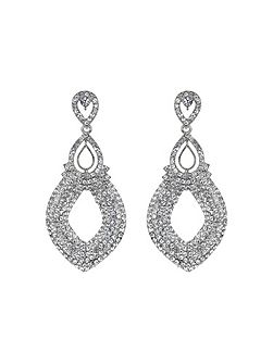 Twin oval loop crystal drop earring
