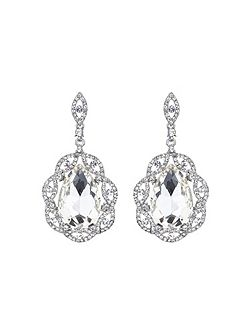 Oval crystal filigree surround earring