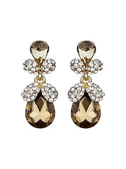 Twin oval fruit crystal drop earring
