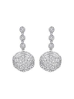 Round fiigree cubic drop earring