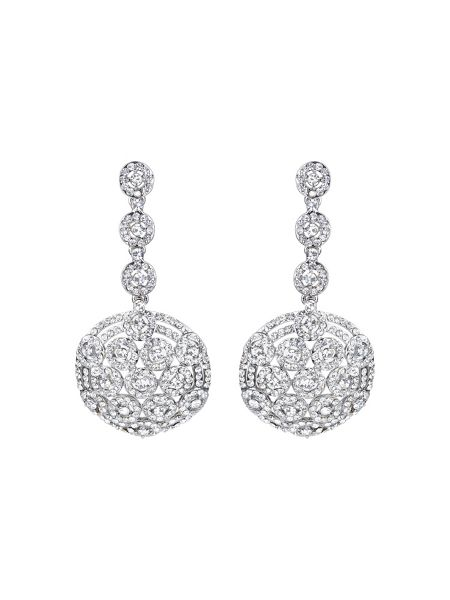 Mikey Round fiigree cubic drop earring