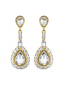 Mikey Oval stone large surround drop earring
