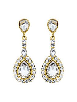 Oval stone large surround drop earring