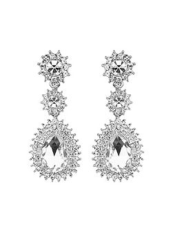Oval stone spikey surround drop earring