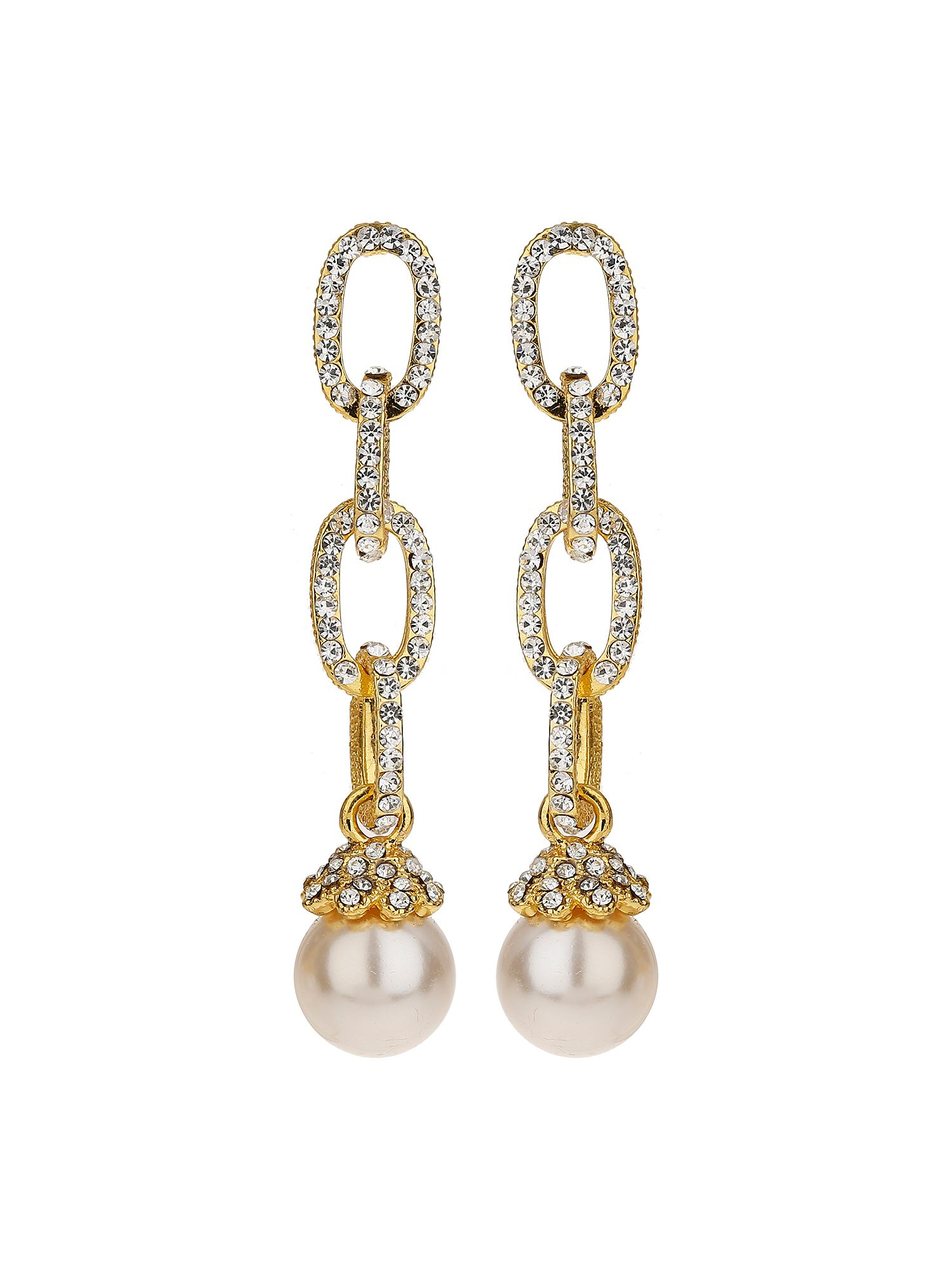 Mikey Chain Design Cubic Drop Earring, Silverlic