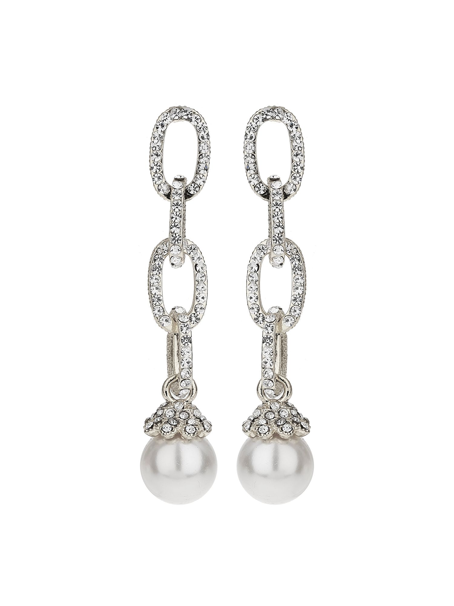 Mikey Chain Design Cubic Drop Earring, White