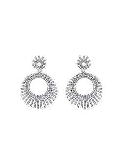 Sun ray design cubic drop earring
