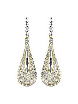 Slim eclipse studded long drop earring