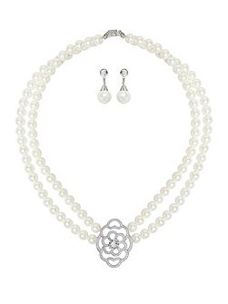 Twin Line Pearl Oval Pendant Crystal Set