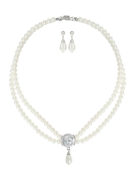 Mikey Twin Line Pearls Baugette Pendant Set