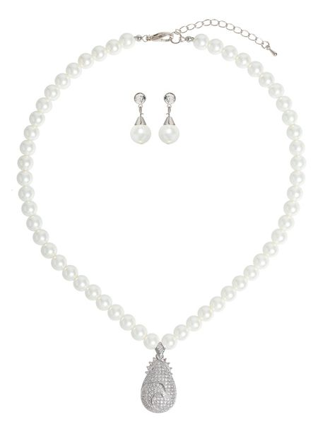 Mikey Eclipse Filigree Pendant Pearl Set