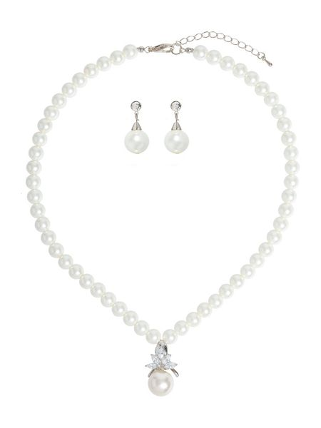 Mikey Flower Crystal Pearl Pendant Pearl Set