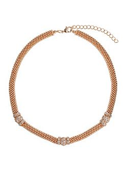 Metal Chain Crystal Cylinder Necklace