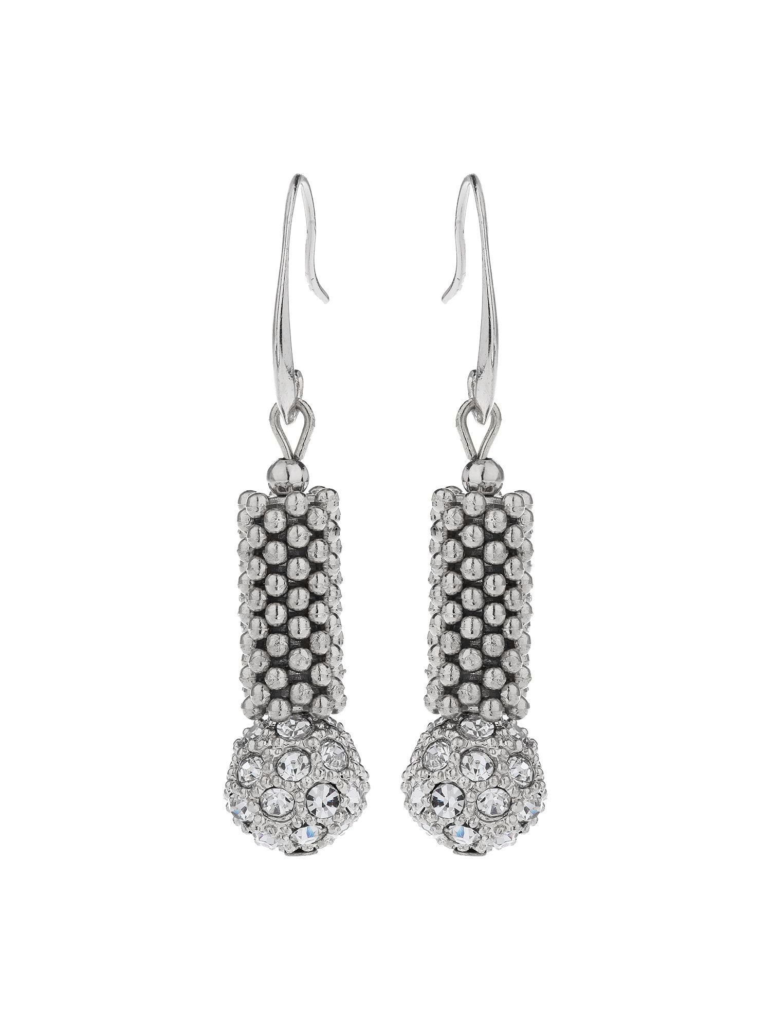 mikey metal chain crystal cylinder earring