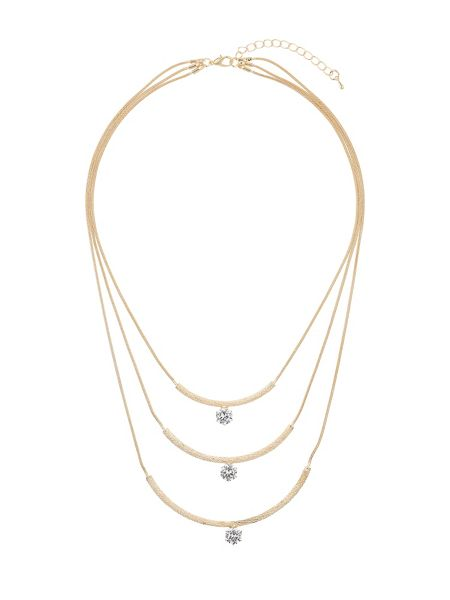 Mikey Curved pendant crystal stone necklace