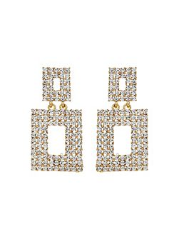 Square Design Crystal Studded Earring