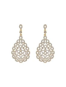 Mikey Filigree Oval Crystal Studded Earring