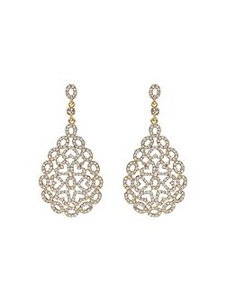 Filigree Oval Crystal Studded Earring
