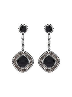 Square Crystal Studded Drop Earring