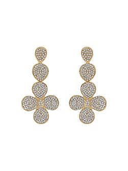 Flower Design Crystal Studded Earring