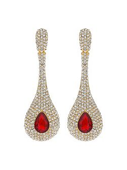 Long Stem Drop Crystal Studded Earring