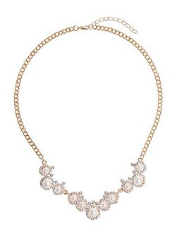 Pearl Crystal Round Disc Linked Necklace