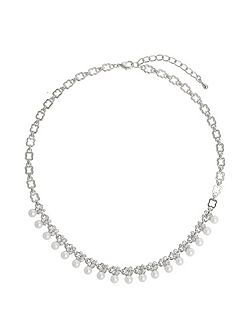 Hanging Pearl Crystal Linked Necklace
