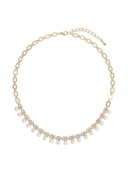 Mikey Hanging Pearl Crystal Linked Necklace