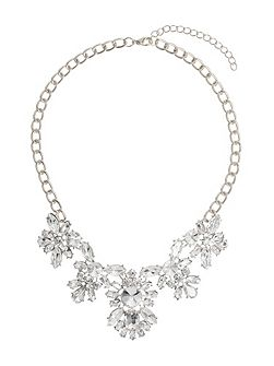 Multi Crystal Flower Linked Necklace