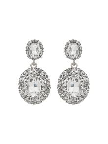 Mikey Oval Crystal Studded Edge Drop Earring